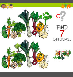 Find differences game with vegetables characters vector