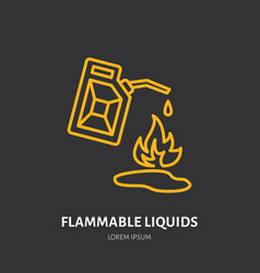 Fire extinguisher flat line sign of flammable vector