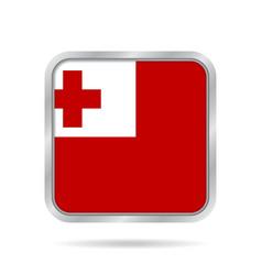 Flag of tonga shiny metallic gray square button vector