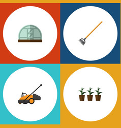 Flat icon farm set of lawn mower hothouse tool vector