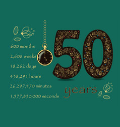 floral card with number fifty and pocket watch vector image
