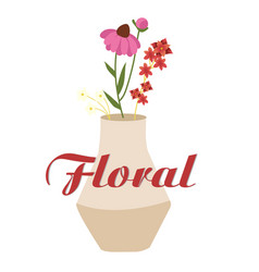 floral vase with flowers design white background v vector image