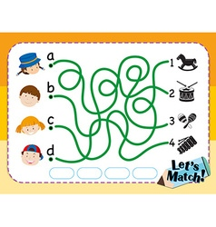 Game template for matching kids and toys vector