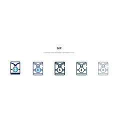 Gif icon in different style two colored and vector