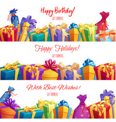 Gift box and present packaging banner border vector