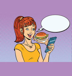 Girl teenager online ordering the burger fast food vector