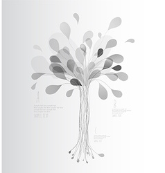 Grey shades tree created from lines and leafs vector image vector image