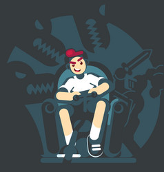 Happy gamer playing video game sitting on the vector
