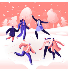 happy people wearing warm clothes skating on vector image