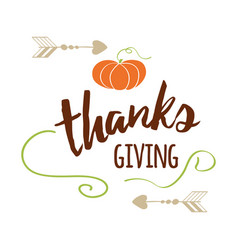 happy thanksgiving day give thanks autumn vector image