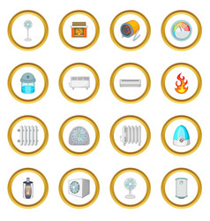 heating cooling icons circle vector image