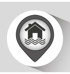 house and water icon vector image