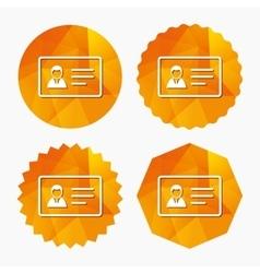 ID card sign icon Identity card badge symbol vector