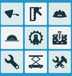 industry icons set with working sawmill vector image