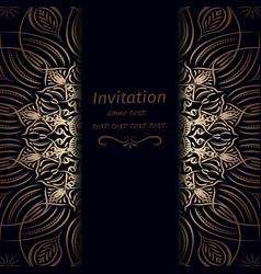 Invitation in dark blue with gold vector