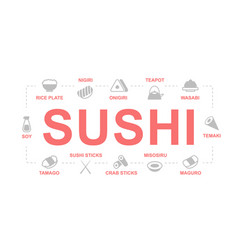 japanese food and sushi colored icons vector image