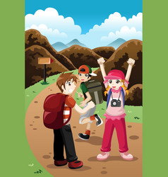 kids on a adventure vector image