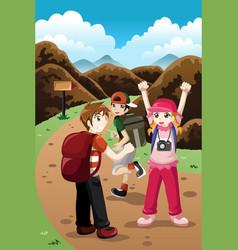 Kids on a adventure vector