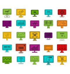 lcd monitor icon set color outline style vector image