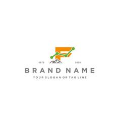 Letter f mountain finance logo design concept vector