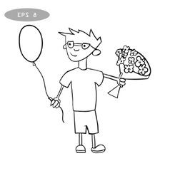 litte boy with balloon and bouquet of flowers vector image
