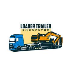 Loader trailer excavator vector