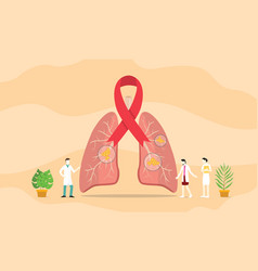 lungs cancer spot concept with team people of vector image