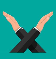Man gestures cross hands say no gesture vector