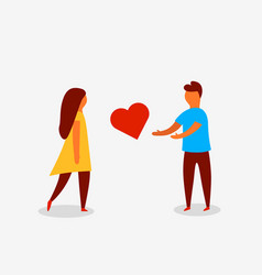 man proposing heart to woman valentine day love vector image