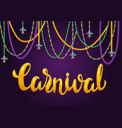 Mardi gras party greeting or invitation card vector
