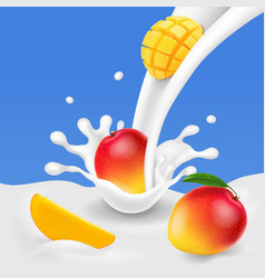 Milk splash with slices of mango vector