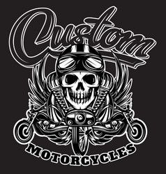 monochrome image with skulls motorcycles wings vector image