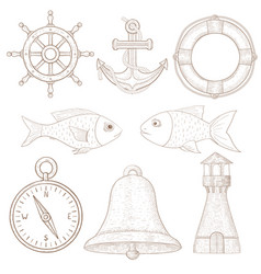 nautical symbols collection of marine signs hand vector image