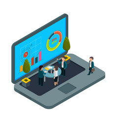 online office isometric laptop and vector image