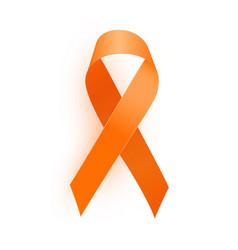 Orange ribbon a medical symbol leukemia vector