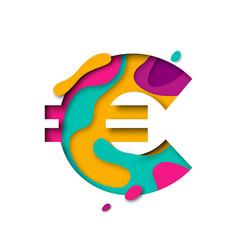 Paper cut euro symbol currency sign realistic 3d vector