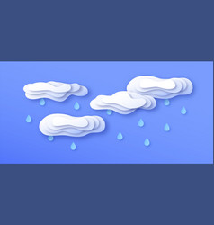 paper cut storm clouds with rain on blue sky vector image