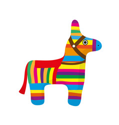 pinata icon flat style donkey colorful isolated vector image