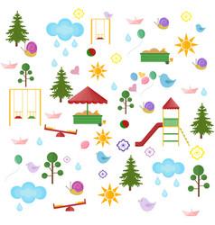 playground kindergarten pattern set flat vector image