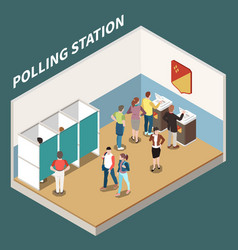 Polling station isometric background vector