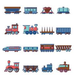 railway carriage icons set cartoon style vector image