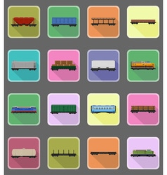 Railway transport flat icons 20 vector
