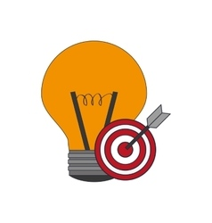 Regular lightbulb and bullseye icon vector