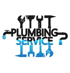 Repair plumbing with a tool symbol vector