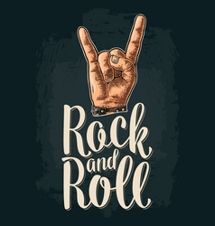 Rock and roll sign black vintage engraved vector