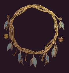 Round golden frame made of branches with feathers vector