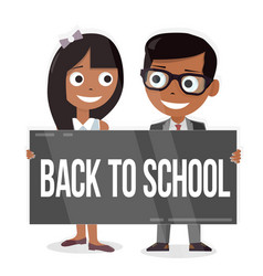 Schoolboy and schoolgirl with a sign board back vector