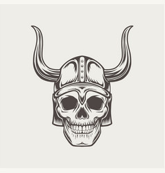Scull in horned helmet vector