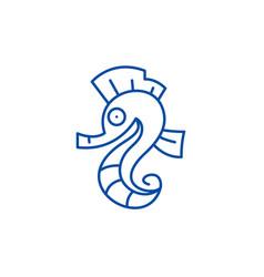sea horse line icon concept sea horse flat vector image