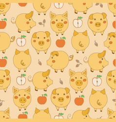 Seamless pattern with cartoon yellow pigs apples vector
